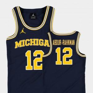 Youth(Kids) Replica Michigan #12 Basketball Jordan Muhammad-Ali Abdur-Rahkman college Jersey - Navy