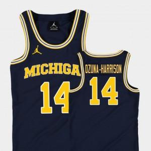 Youth(Kids) Basketball Jordan #14 Replica Michigan Rico Ozuna-Harrison college Jersey - Navy
