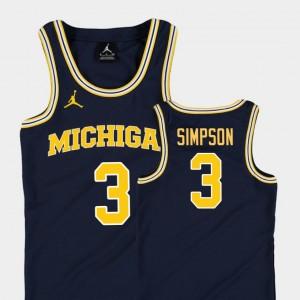 Youth(Kids) Basketball Jordan Replica #3 Michigan Zavier Simpson college Jersey - Navy